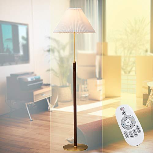 HAITOY Lámpara De Pie Regulable, Blanco Pantalla De Tela Plisada con Pantalla Alargada Y Cable De Encendido para Dormitorio, Salón, Comedor[Clase De Eficiencia Energética A++],A
