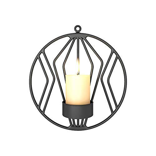 2 Stück Wand Kerzenhalter für Wohnzimmer Wandleuchten für Stumpenkerzen Teelicht Metall Kandelaber für Wohnzimmer Schlafzimmer Hochzeit Schlafzimmer Dekor (Schwarz)
