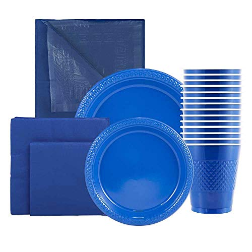 Lowest Price! JAM Paper Party Supply Assortment - Blue - Plates (2 Sizes), Napkins (2 Sizes), Cups (...