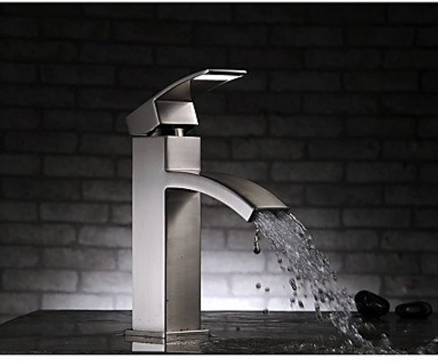 TSAR003 Contemporary Deck Mounted Waterfall With Ceramic Valve Single Handle One Hole For Nickel Brushed , Bathroom Sink Faucet