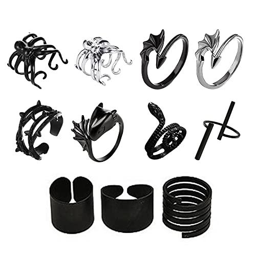 Jayehoze Retro Open Ring Black Punk Wind Winding Snake Angel Demon Halloween Ring für Damen Herren fit