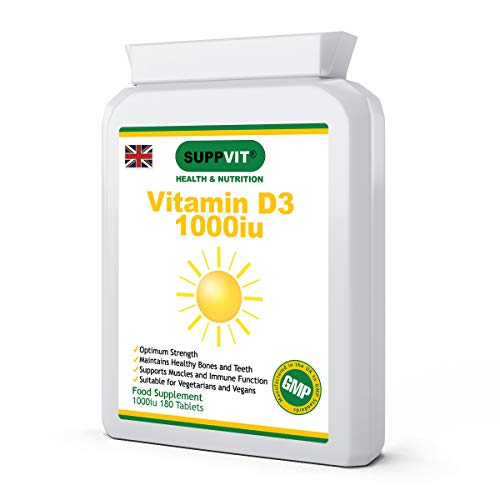 Vitamin D3 Cholecalciferol | 1000iu | One-A-Day | Immune System Support | Bone Support | Suitable for Vegetarians & Vegans | 180 Tablets | Manufactured in The UK