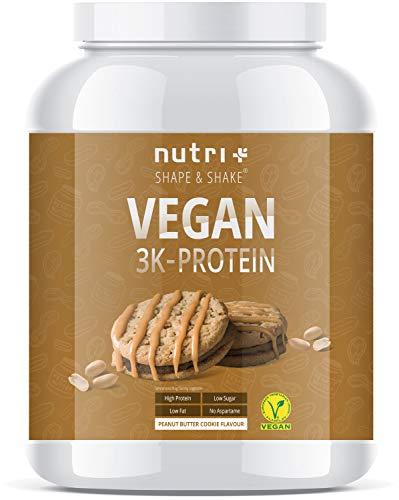 Vegan Eiwit Poeder Pindakaas Cookie 1kg - 79,1% proteïne - 3k Protein Powder Peanut Butter Cookies - Eiwitenschudding 1000g zonder melk & lactose - Nutri-Plus Shape & Shake