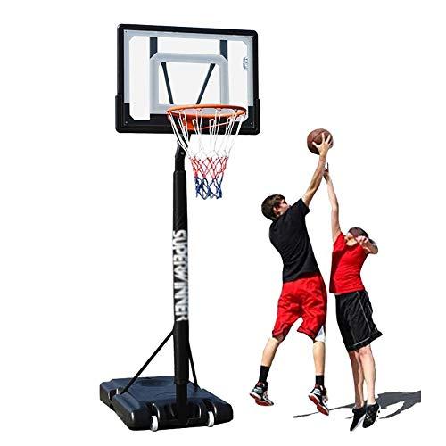 ERRU Canasta de Baloncesto Aro de Baloncesto Ajustable en Altura de 5-8.5 Pies, Sistema de Baloncesto PortáTil con Base con Ruedas, Deportes de Interior y Al Aire Libre para NiñOs, Adultos