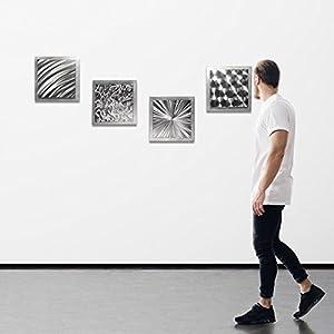 Abstract Metal Art 'Silver Seasons' by Helena Martin - Original Modern Wall Decor 3D Accent Sculpture on Natural Aluminum