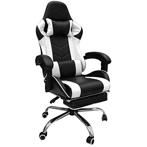 Homall Gaming Chair Office Chair Racing Style Leather High Back Computer Chair Ergonomic Adjustable Swivel Task Chair with Headrest and Lumbar Support