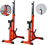 Adjustable Squat Rack, Strength Training Fitness Barbell, Squat Stands Rack Barbell Free Press