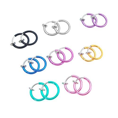 Compre show 8 Cerchi Clip da Naso Labbra Orecchini in Acciaio Inox