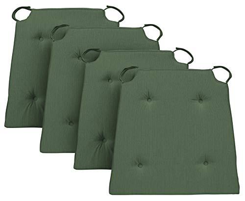 Traumnacht Stuhlkissen Basic 4er Set, mit einem Baumwollbezug, 40 x 42 x 4 cm, grün
