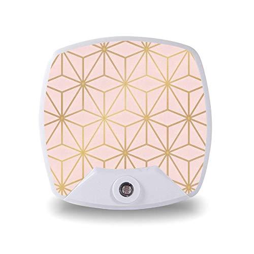 Lámpara de noche LED con sensor inteligente sensor de atardecer a amanecer, astral metalizado, rubor rosa, oro rosa, lámpara blanca cálida para escaleras, pasillo, cocina, dormitorio