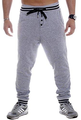 Young & Rich Herren Hose Jogginghose Freizeithose Sweathose Sweatpants Grau, Grösse: XL