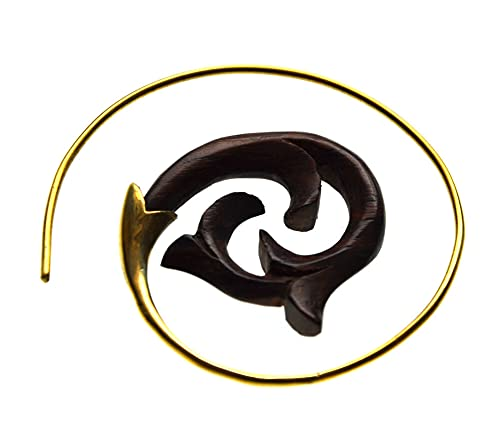 Chic-Net Piercing de madera falsa con forma de espiral, de latón, con flor dorada, orgánico, tribal, unisex, para hombre y mujer, de latón, en espiral de fósiles, Madera,