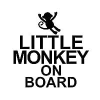 車のステッカーの装飾 10.2CM * 10.1CM LITTLE MONKEY赤ちゃんかわいい動物ビニール車ステッカーデカールブラック/シルバー (Color Name : Black)