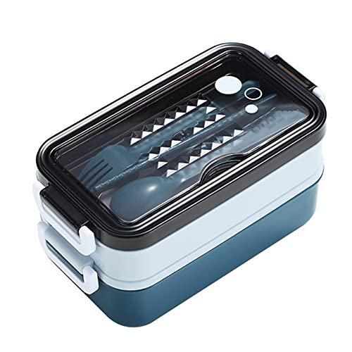 Felenny Caja Bento de Doble Capa Lonchera Contenedor de Alimentos Cajas de Almacenamiento de Metal a Prueba de Fugas Bento Lonchera con Tapa para Adultos