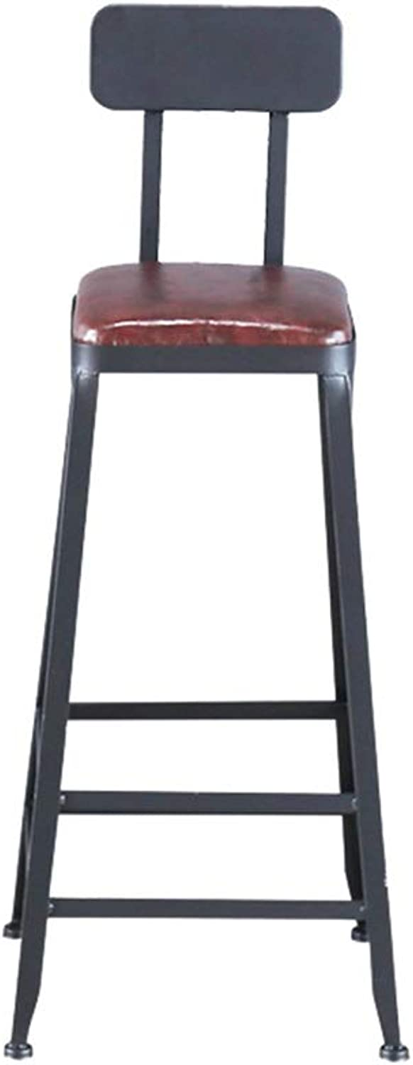 Iron Bar Stool, PU Seat with Backrest Barstool Water Bar Bar Counter High Stool Kitchen Breakfast Bar Chair Height 65-80CM (Size   75cm)