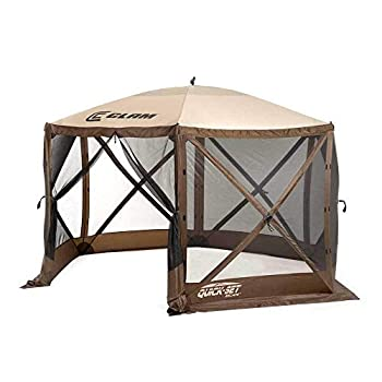 CLAM Quick-Set Escape 11.5 x 11.5 Foot Portable Pop Up Outdoor Camping Gazebo Screen Tent 6 Sided Canopy Shelter with Ground Stakes & Carry Bag Brown