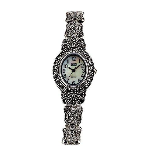 Eton Damen Markasit Uhr, oval Fall, Mop Zifferblatt, Antik Finish–3182l