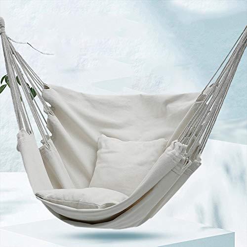 Hamaca para Acampar Al Aire Libre con Almohada Cuerda Colgante Silla Cuerda Colgante Textil Camping Jardín Asiento Columpio Porche Exterior Hamacas Blanco