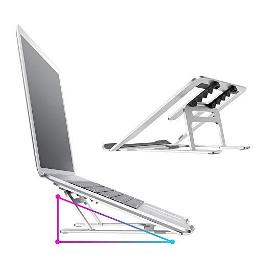 aimayla - Soporte universal ligero para portátil (0,3 cm de grosor, plegable, portátil, ventilado, compatible con MacBook ASUS Microsoft, superficie plateada, aluminio plateado
