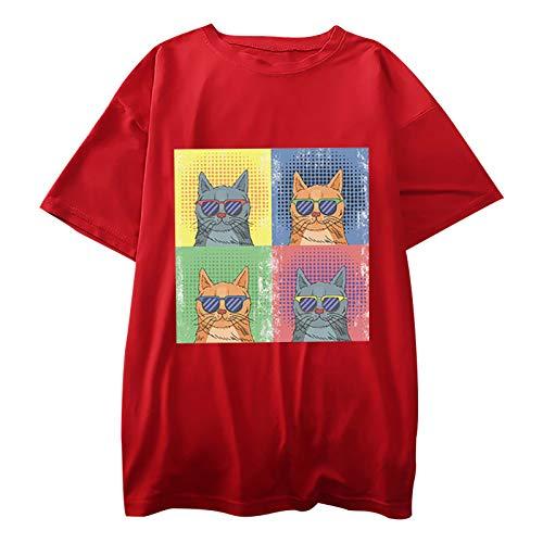 Frauen T-Shirt Casual Cartoon Cat Print Tops 3D-Grafik Pullover Kurzarm O-Ausschnitt Tunika Bluse(L,Rot)
