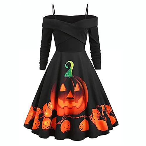 Zolimx Halloween Dress, Halloween Pumpkin Lantern Print Maniche Lunghe con Cinturino a Una Spalla Abito Sexy Abito da Festa con Cuciture(Nero,5XL)