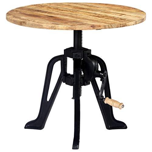 vidaXL Mangoholz Massiv Beistelltisch Höhenverstellbar Industrie Rund Couchtisch Kaffeetisch Wohnzimmertisch Tisch Holztisch 60x(46-63) cm Gusseisen