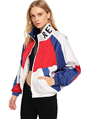 SweatyRocks Women's Lightweight Active Jacket Long Sleeve Color Block Letter Print Windbreaker White M