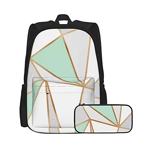 Asual - Juego de mochila y estuche para lápices, combinación, mochila de trabajo y estudio y bolsa de cosméticos, color verde menta, gris y dorado
