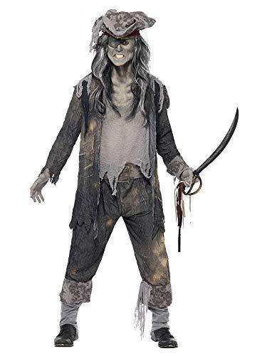 shoperama Zombie Geisterschiff Pirat Herren-Kostüm Hose Mantel Hut Untoter Freibeuter Ghoul Geist Halloween Horror, Größe:M