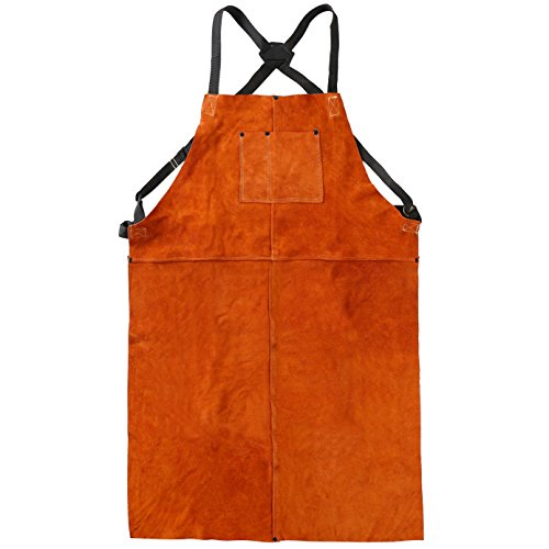 LEASEEK Leather Welding Work Apron - Heat Resistant & Flame Resistant Bib Apron, Flame Retardant Heavy Duty BBQ Apron, Adjustable One Size Fit Most - 24' X 36',Brown (Tan)