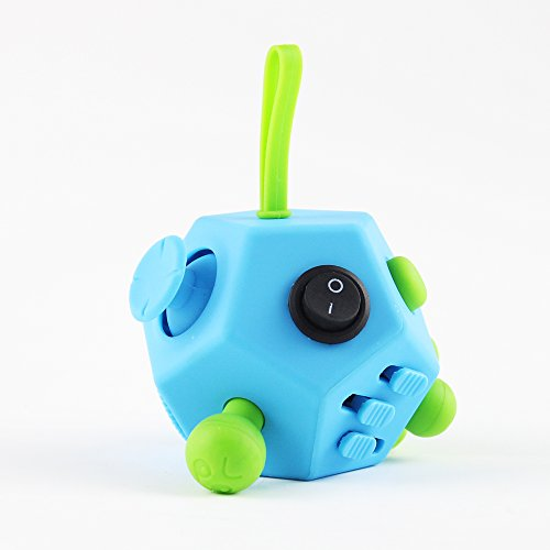Fidget Cube Ceavis Focus Toy, Release Stress in Class/Work/Home, Safety Non-Toxic Material Made Anxiety and Relax Attention Desk Toy for Kids or Adults (Fidget Cube, 12 sides Skyblue)
