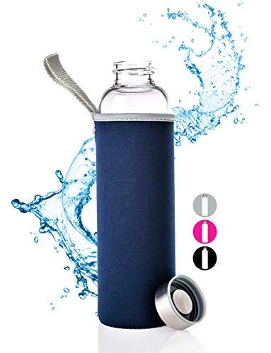 PaWa Glasflasche BPA Frei - 550ml Wasserflasche mit Schutzhülle - Hochwertige Trinkflasche Glas für Kinder - Smoothie Glass Water Bottle - Sportflasche für unterwegs mit Gratis Ersatzdichtung