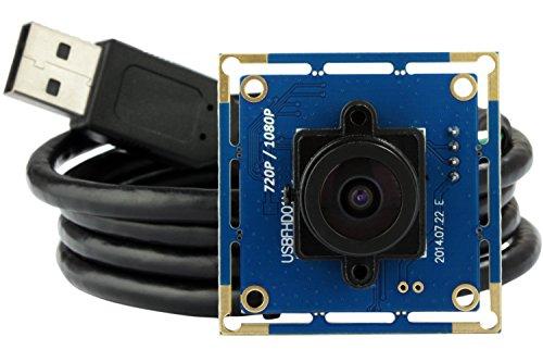ELP Full HD Web Kamera 2,1mm Objektiv Weitwinkel Webcam 1080P USB Kamera Modul 2.0 Megapixel Webcam Computer Web Konferenz Kamera Kompatibel mit Mac/Windows/Linux/Android/Raspberry Pi USBFHD01M-L21