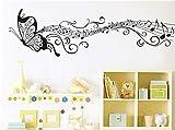 Negro música mariposa decoración de la pared Stave Note pegatinas de pared vinilo adhesivo...