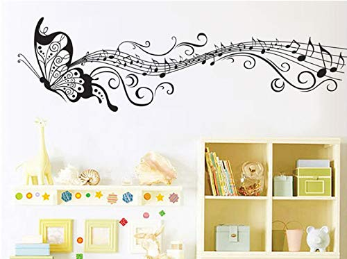 Negro música mariposa decoración de la pared Stave Note pegatinas de pared vinilo adhesivo decoración del hogar para niños habitación extraíble