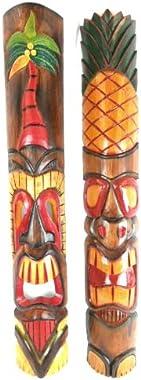 40 inch SET OF 2 HAND CARVED POLYNESIAN HAWAIIAN PALM TREE PINEAPPLE TIKI STYLE MASKS 3 ft TALL