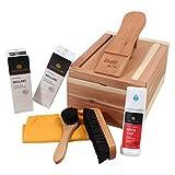 Caja para el cuidado del calzado de madera de cedro, nuevo con productos Solitaire para el...