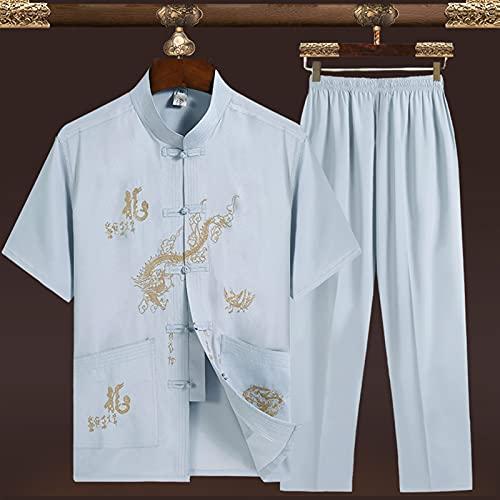 LINFENG Primavera Verano Traje de meditación Zen para Mujeres Traje Tradicional Chino de Tai Chi Ropa de Artes Marciales Ejercicios matinales Ropa de Kung Fu (Color : Gray-A, Size : Medium)