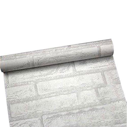 TOPmountain 3D Brick Wall Sticker Selbstklebende wasserdichte Wand Papier Stein Tapete (weißer Ziegel)