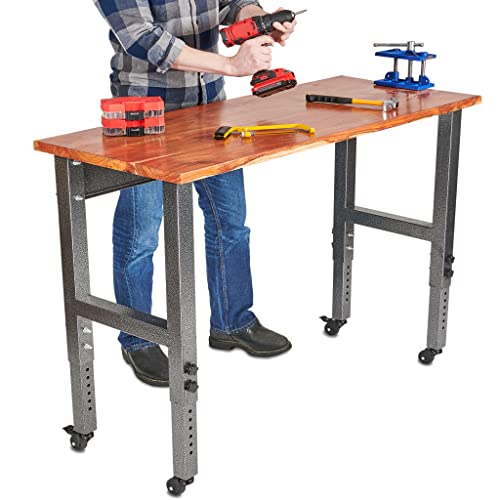 Fedmax Work Bench - 48-inch x 28 to 44-inch Acacia Wood Garage Work Table with Caster Wheels and...