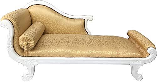 Casa Padrino Barock Chaiselongue Modell XXL Gold Muster/Weiß - Recamiere Wohnzimmer Möbel