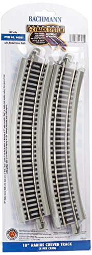 "Bachmann Trains - Snap-Fit E-Z TRACK 18"" RADIUS CURVED TRACK (4/card) - NICKEL SILVER Rail With Gray Roadbed - HO Scale"