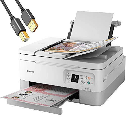 """Canon PIXMA TR 7000 Series All-in-One Color Wireless Inkjet Printer - White - Print Copy Scan - Borderless Photo Printing, Auto 2-Sided Print, 13 ipm, 1.44"""" OLED, 35-Sheet ADF - ORPHYER Printer Cable"""