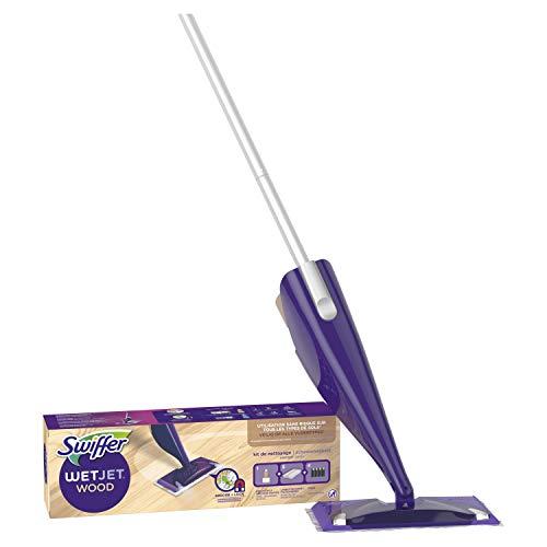 Swiffer WetJet Wood Kit complet 1 Balai Spray + 5 Lingettes + 1 Nettoyant Liquide + 4 Piles