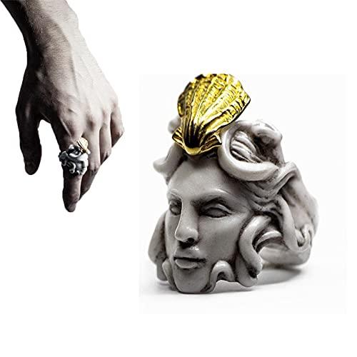 Anillo Zeus con Forma de Cabeza, mitología Griega Medusa Zeus, Anillo exagerado con Forma de Cabeza de Anciano, Anillo de Escultura Dorada Vintage para Hombres, Mujeres (8,Medusa)