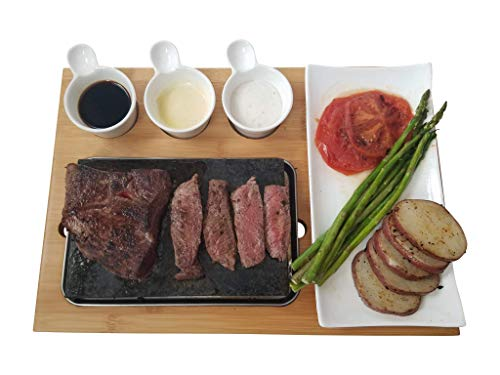 Cooking Stone - Complete Set Lava Hot Steak Stone Plate and Cold Lava Rock Hibachi Grilling Stone w Ceramic Side Dishes and Bamboo Platter