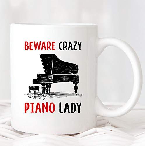 Ad4ssdu4 Vorsicht Crazy Piano Lady MugMUG694 geschenken voor piano speler piano speler beker piano speler geschenk vrouw koffiekopje vrouw geschenken