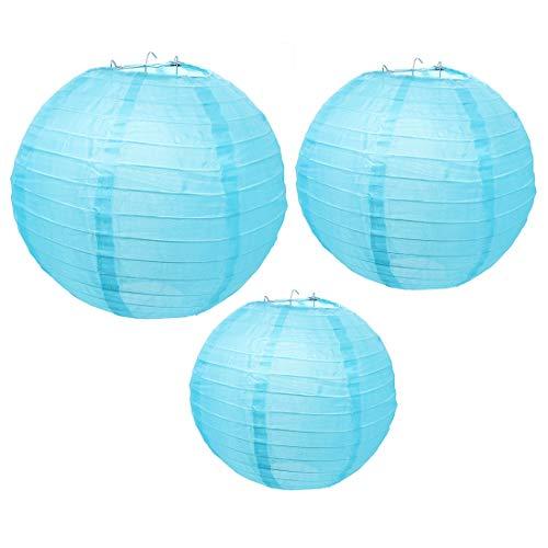 Yuhtech nylon lantaarn rond lampenkap decoratie voor verjaardagsfeest-feest-decoraties blauw – 3 stuks.