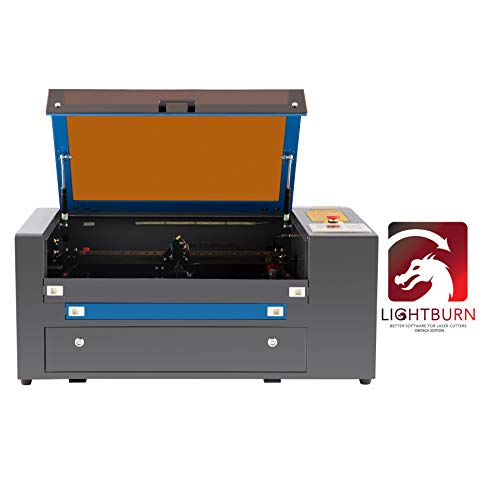 OMTech 50W CO2 Laser Engraver Cutter Machine with LightBurn Software, 20x12 inch Bed, Ruida Control Panel, Digital Power Supply, Rotary Axis, Compatible with Windows, Mac OSX, Linux System