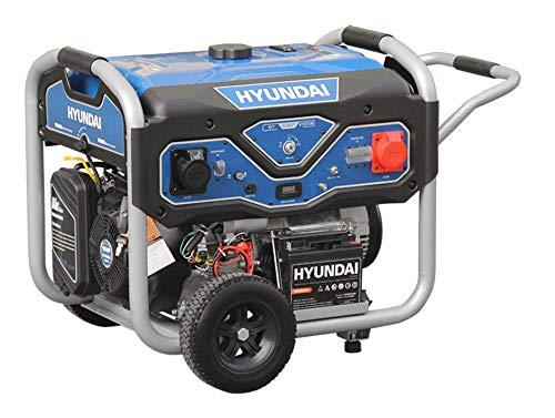 HYUNDAI Benzin Generator BG55054, Stromerzeuger mit 15PS Motor und 5.5kW max. Leistung, E-Start, Notstromaggregat für Baustellen mit 1 x 230V und 1 x 380V (Drehstrom), Stromgenerator, Stromaggregat